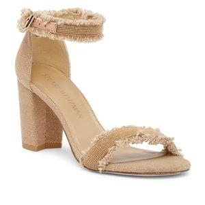 Stuart Weitzman Frayed Ankle Strap Sandals sz 11